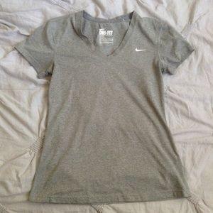 Nike Gray Dri-Fit V-Neck T-Shirt